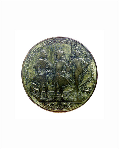 Medal commemorating Admiral Edward Vernon (1684-1757), Admiral Sir Chaloner Ogle (1681?-1750) and General Thomas Wentworth, the attack on Cartagena, 1741; obverse by I. Giles