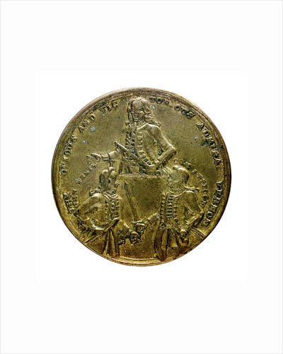 Medal commemorating Admiral Edward Vernon (1684-1757), Admiral Sir Chaloner Ogle (1681?-1750), and General Thomas Wentworth, the attack on Cartagena, 1741; obverse by unknown