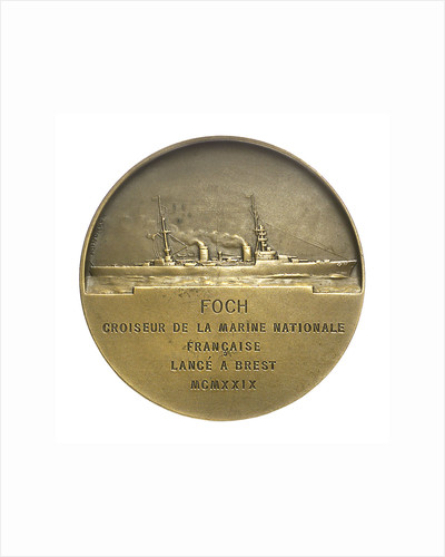 Medal commemorating Marshal Ferdinand Foch (1851-1929)  and the cruiser 'Foch'; reverse by Georges Henri Prud'homme