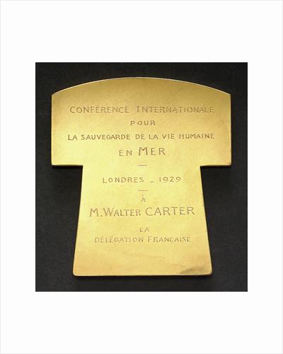 Life-saving medal; reverse by Georges Henri Prud'homme