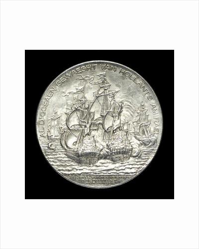 Medal commemorating the tercentenary of the birth of Admiral de Ruyter, 1997; reverse by J.J. van der Goor