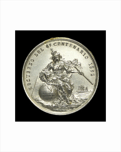 Medal commemorating Christopher Columbus (1451-1506) and the fourth centenary of the discovery of America, 1892; reverse by Lauer Bros.
