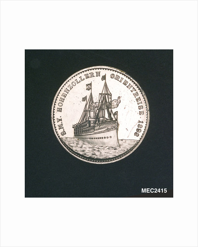 Medal commemorating the HIM yacht 'Hohenzollern' on her eastern cruise; reverse by Lauer Bros.