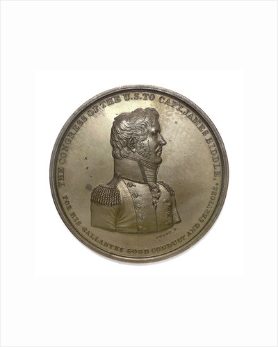 Medal commemorating Captain James Biddle and the action between USS 'Hornet' and HMS 'Penguin', 1815; obverse by Moritz Furst