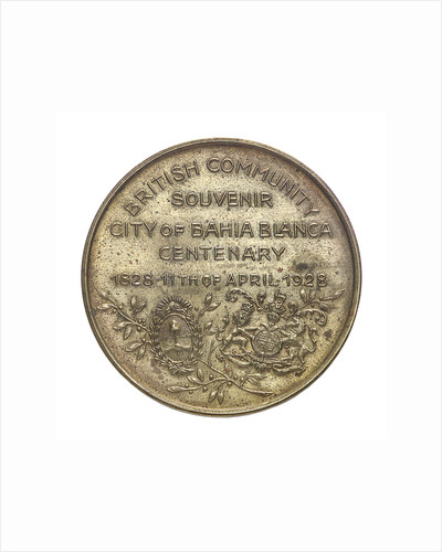 Medal commemorating the Bahia Blanca centenary, 1928; reverse by unknown