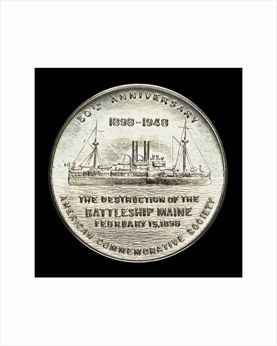 Medal commemorating the 50th anniversary of the destruction of the battleship Maine, 1948; obverse by W. & H. Co.