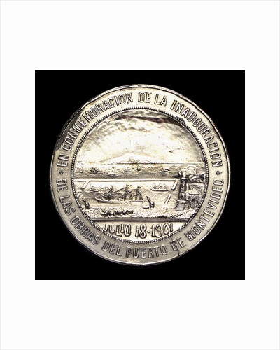 Medal commemorating the inauguration of the harbour works of Montevideo, 1901; reverse by J. Welker