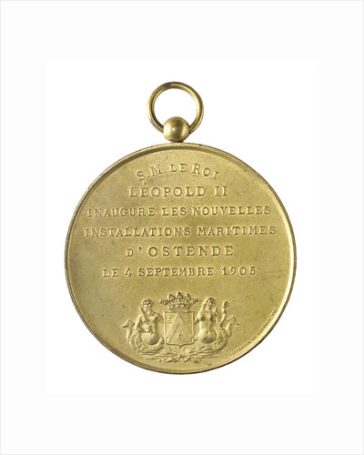 Medal commemorating the inauguration of the Maritime Installations at Ostend, 1905; obverse by unknown
