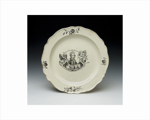 Plate with a portrait of Admiral Sir George Brydges Rodney (1719-1792) by unknown