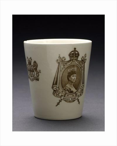 Porcelain beaker inscribed 'CORONATION 1911' by Doulton & Co. Ltd.