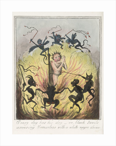Every Dog Has His Day - or Black Devils Amusing Themselves With a White Negro Driver by George Cruikshank