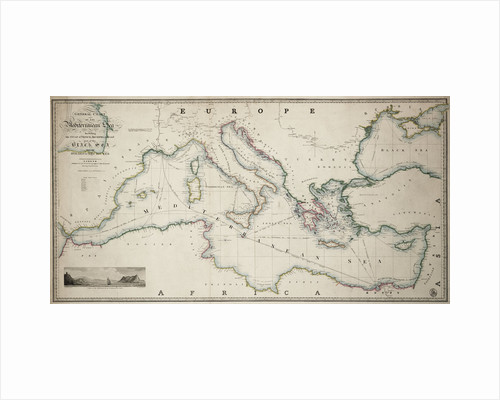 General chart of the Mediterranean Sea including the Gulf of Venice, Archipelago and part of the Black Sea with the steampacket routes by James Wyld