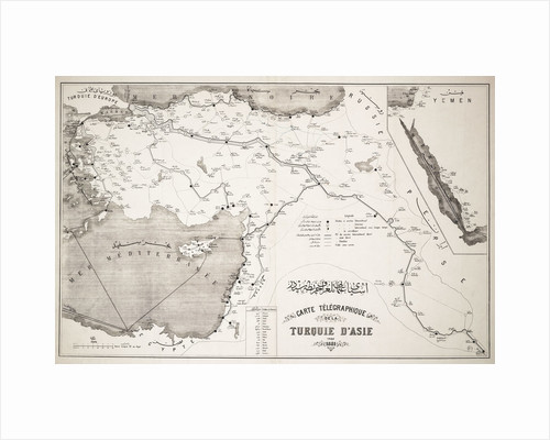 Map of Turkey showing telegraph cables and stations by Anonymous