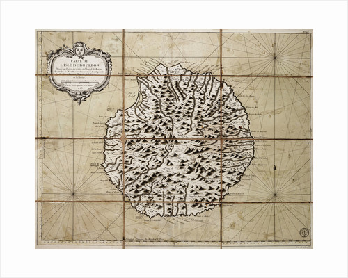 Map of the Isle of Bourbon prepared at the depository of maps and seacharts by Jacques Nicolas Bellin