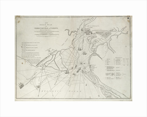An exact plan of Charles Town bar and harbour, from an actual survey with the attack of Fort Sullivan, on the 28 June 1776, by His Majesty's squadron commanded by Sir Peter Parker by Sayer & Bennett