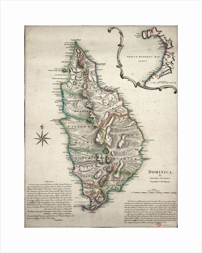 Colour map of Dominica with detailed geographical observations by Thomas Jeffereys