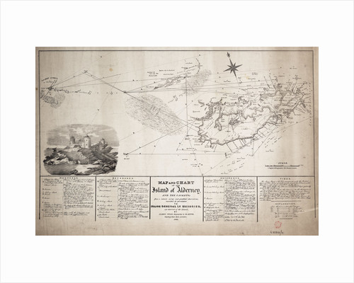 Map and chart of the Island of Alderney and the Caskets by James Wyld