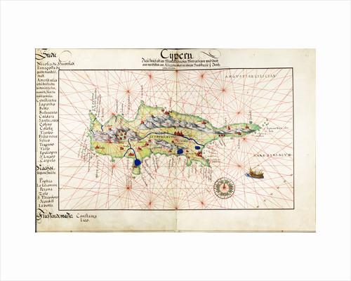 Vellum chart of Cyprus, 1554 by Battista Agnese