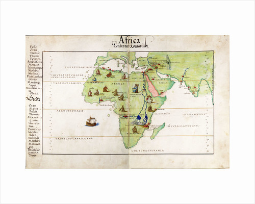 Vellum chart of Africa, India and the Mediterranean by Battista Agnese