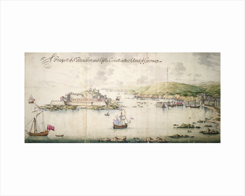 A prospect of St. Peters port and Castle Cornett in the island of Guernsey by Thomas Phillips
