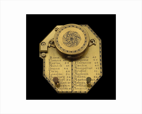 Inclining dial for latitudes 0-60 north, reverse by Edmund Culpeper