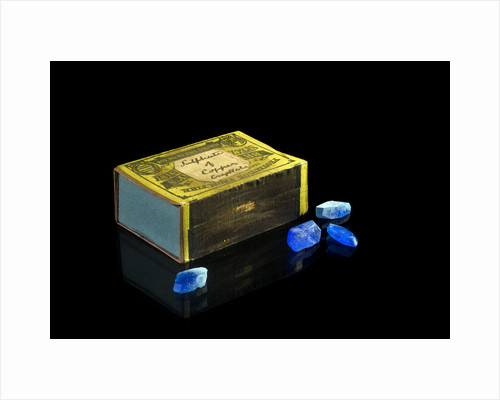 Matchbox containing eighteen copper sulphate crystals by unknown