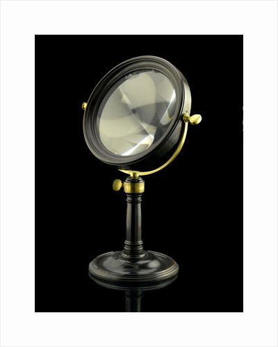 Achromatic convex burning lens by Dollond in a mahogany frame by Dollond