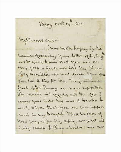 Last letter from Nelson to Horatia, page one by Horatio Nelson