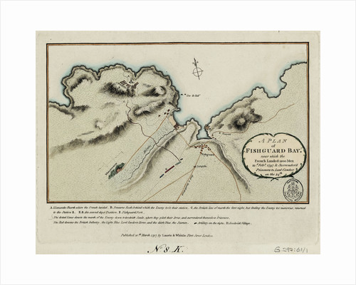 A plan of Fishguard Bay near which the French landed 1200 men 22nd February 1797 and surrendered prisoners to Lord Cawdor on the 24th by Laurie & Whittle