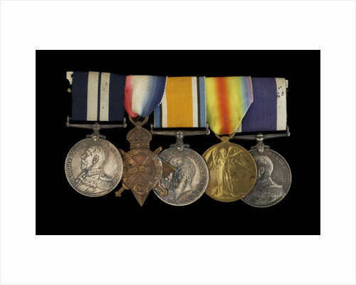 Medals awarded to Able Seaman R. J. Squires DSM (obverse, l to r, MED2591-2595) by B. Mackennal