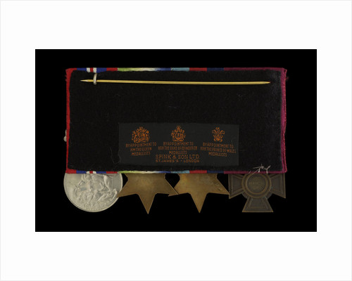 Medals awarded to Able Seaman William A. Savage VC (reverse, r to l, MED2108-2111) by Hancocks & Co