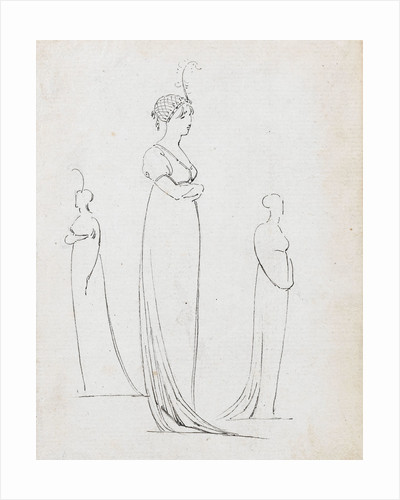 A full-length drawing of a woman by Thomas Baxter