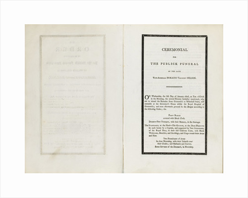 Complete order of ceremony of the funeral procession of Lord Nelson, 8 and 9 Jan 1806 by unknown