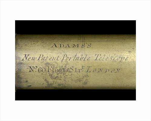 Adams's New Patent Portable Telescope - draw tube inscription by Adams