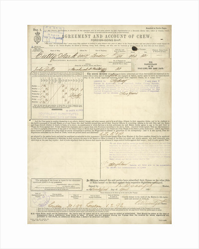 1891 crew list for 'Cutty Sark' (1869) by unknown