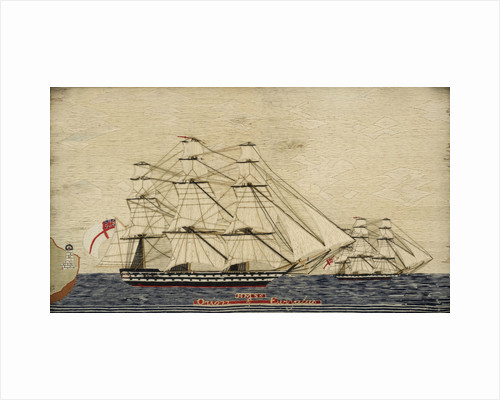 Two warships in full sail by unknown