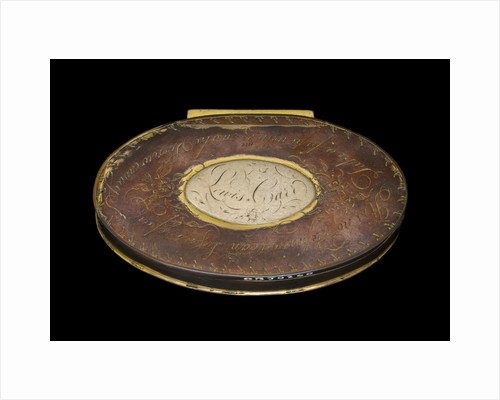 A tobacco box in copper, originally gilt,  engraved with roses by unknown