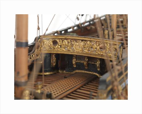 Ship of 50 guns, quarter deck rail detail by unknown