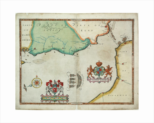 Map of 'The pursuit to Calais, 4 - 6 August 1588' by Robert Adams; Augustine Ryther
