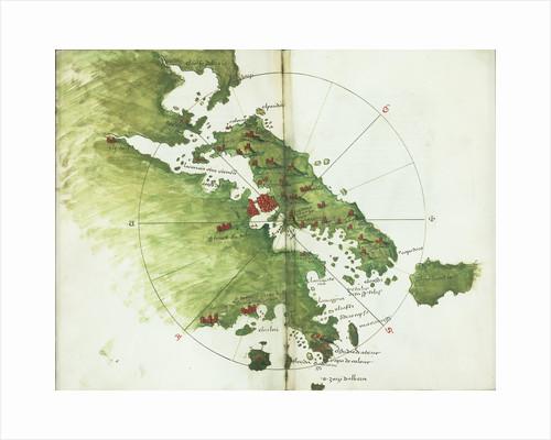 Chart of Negroponte by Bartolommeo dalli Sonetti