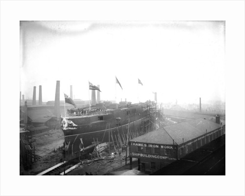 HMS 'Sans Pareil' on the morning of her launch, Thames Iron Works by unknown