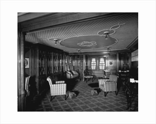 First Class Library on the 'Balmoral Castle' (1910) by Bedford Lemere & Co.