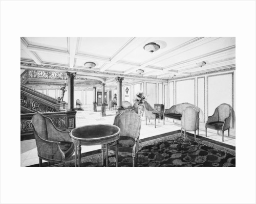 First Class Restaurant Reception Room on the 'Titanic' (1912) by Bedford Lemere & Co.