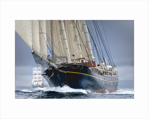 Topsail Schooner 'Gulden Leeuw' during Lerwick to Stavanger Tall Ships Race 2011 by Richard Sibley