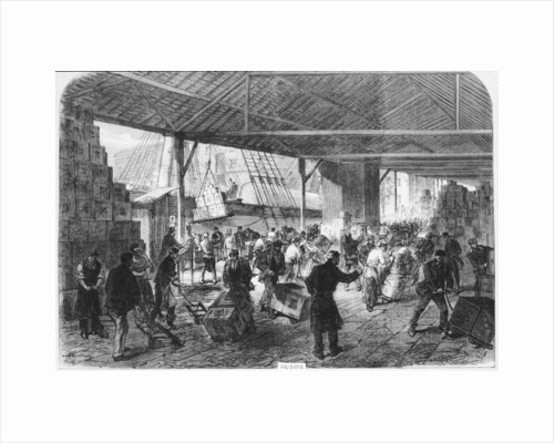 Unloading tea ships in the East India docks by unknown