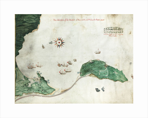 Chart 'A true description of the situation of Weymouth and Melcombe Regis', 1626 by William Simpson