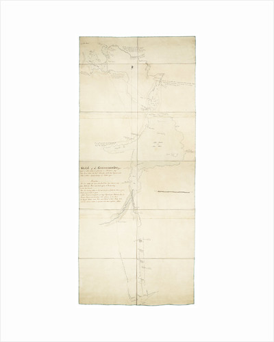 Sketch of communication from York on Lake Ontario to Glouscester [sic] or Machidash Bay Lake Huron taken by Lieut.t Pilkington of the Roy.l Engineers and Alex.r Aitken Deputy Surveyor in October 1793. by Robert Pilkington; Alexander Aitken