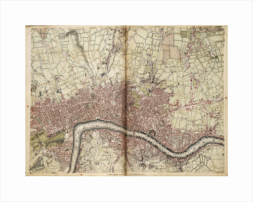 Map of Islington, Westminster, City and Southwark by John Rocque