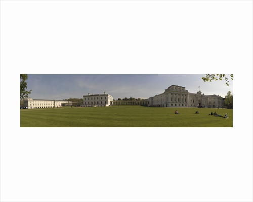 Panoramic view of National Maritime Museum, Queen's House and the Royal Observatory (ROG), with visitors on lawns by National Maritime Museum Photo Studio