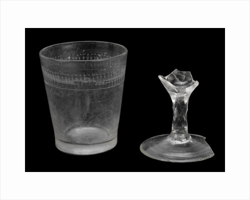 Glass tumbler and glass stem by unknown